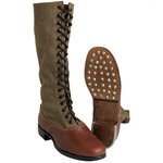 German Tropical High Boots Canvas and Leather WW2 Repro