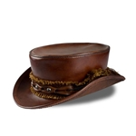 Leather Top Hat in Brown
