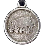 Celtic Boar Pewter Necklace Pendant 121.0619