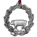Christmas Wreath With Pig Ornament 119.0388