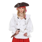 Lady's Ruffled Pirate Blouse - White