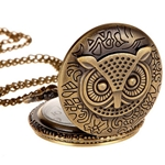 Engraved Owl Pocket Watch or Pendant