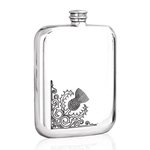 Corner Thistle Stamped Pewter Flask 6 Ounces