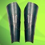 Green Elven Leather Greaves 26-300444