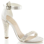 Ivory Satin Closed Back Ankle Strap Sandals