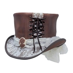Havisham Top Hat, White Curtsy Band - Brown