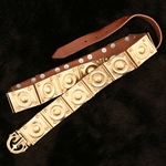 Roman Brown Leather Ringed Belt AH-6760
