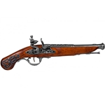 Colonial Engraved British 18th Century Flintlock Pistol - Non-Firing Replica,English Flintlock Pistol 18th Century - Non-Firing FD1196L