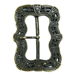 Large Medieval Belt Buckle - Antiqued Brass