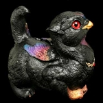 crouching Griffin Chick Sculpture Black Sunset 904-BS