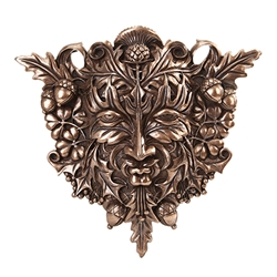 Green Man Wall Plaque in Bronze