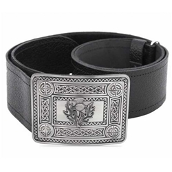 Leather Belt with Antique Thistle and Celtic Knot Buckle