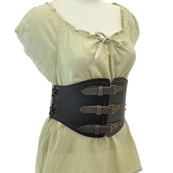 Buckled Waist Cincher - Brown Leather